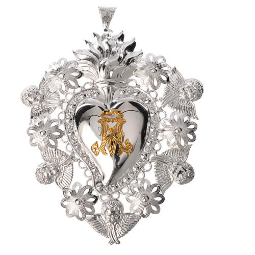 Votive sacred heart with Marian symbol 15x11cm 1