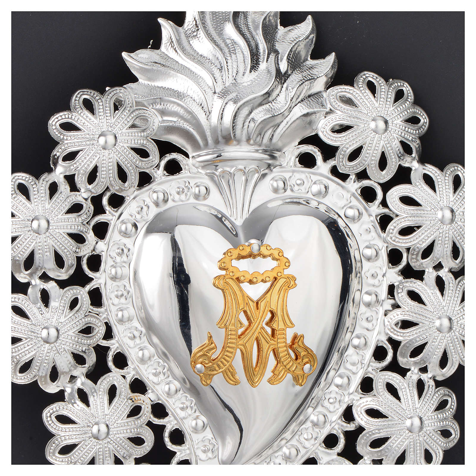 Corazón votivo flores y símbolo Mariano 15 x 11 cm 3