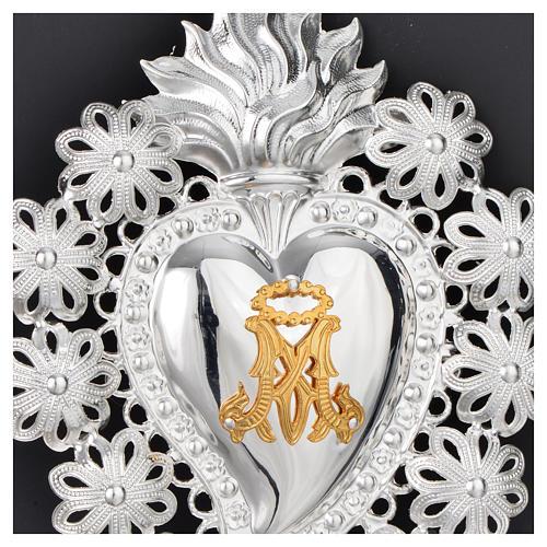 Corazón votivo flores y símbolo Mariano 15 x 11 cm 2