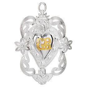 Votivgabe flammendes Herz mit Engel und Blüten 11x8 cm s1