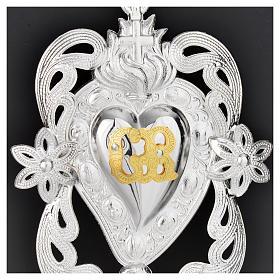 Votivgabe flammendes Herz mit Engel und Blüten 11x8 cm s2