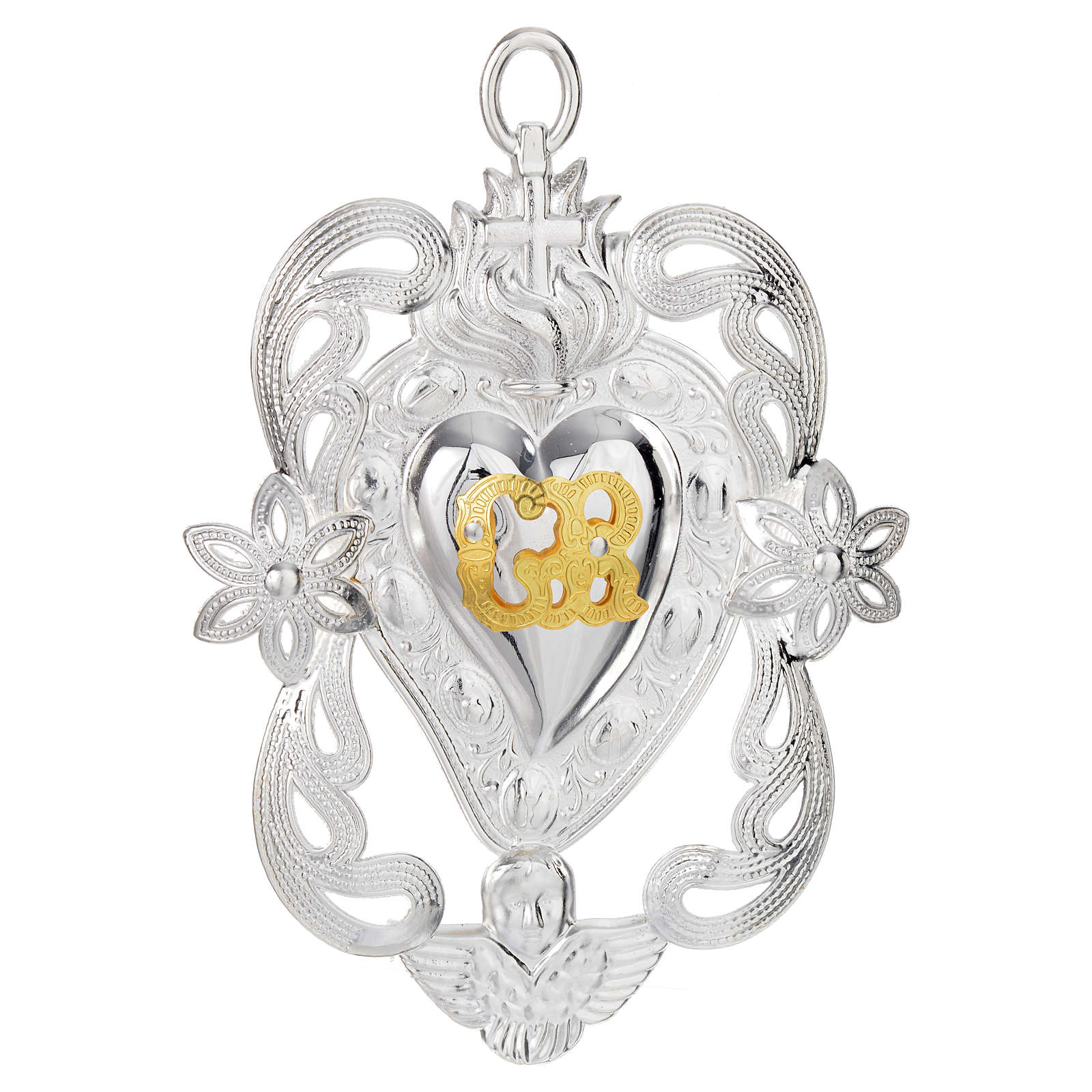 Votive sacred heart with angel and flowers 11x8cm 3