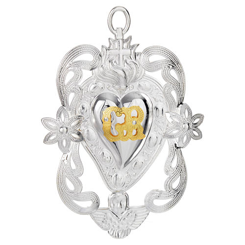 Votive sacred heart with angel and flowers 11x8cm 1