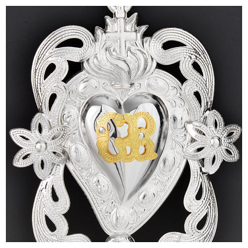 Votive sacred heart with angel and flowers 11x8cm 2