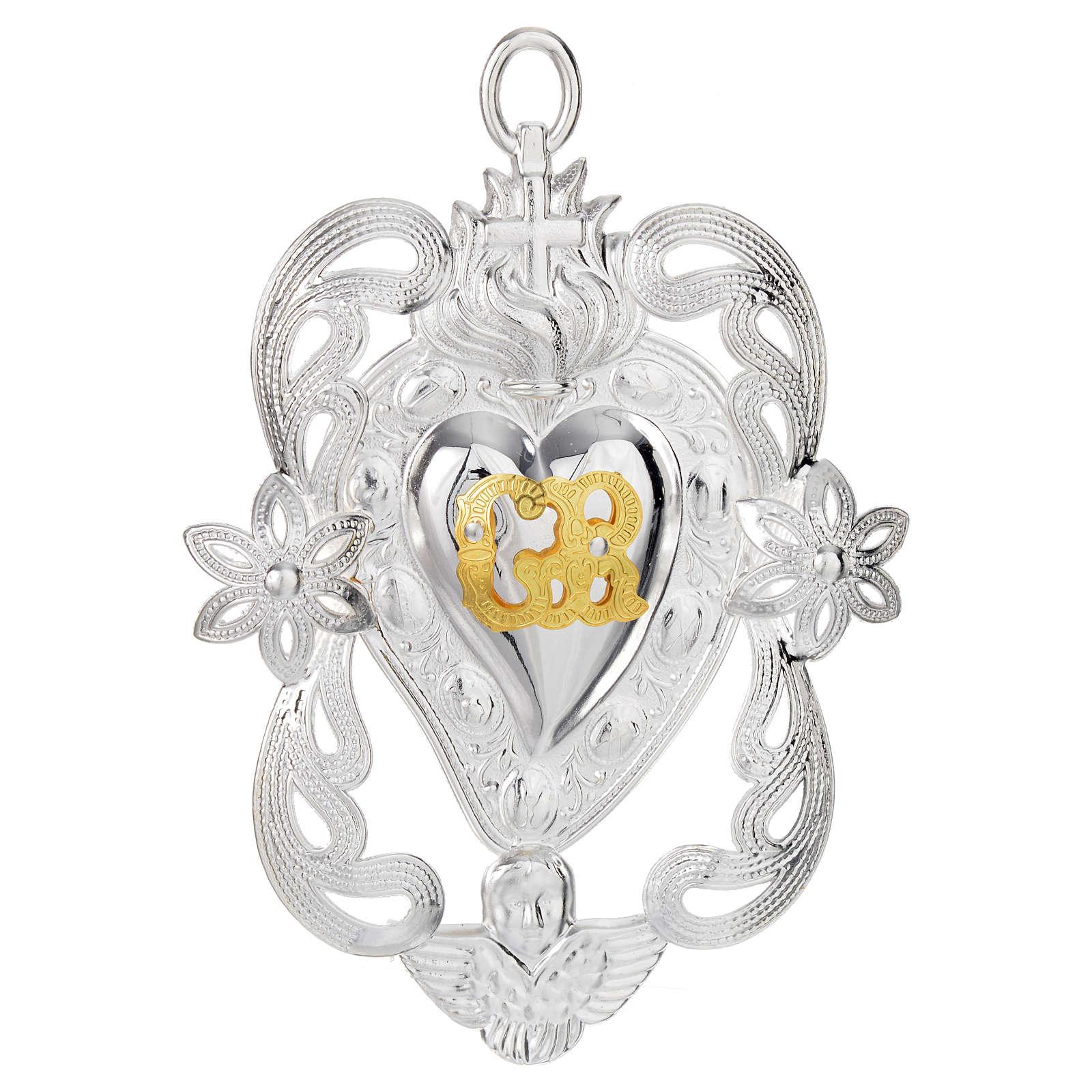 Coração ex-voto anjo e flores 11x8 cm 3