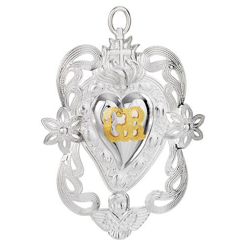 Coração ex-voto anjo e flores 11x8 cm 1