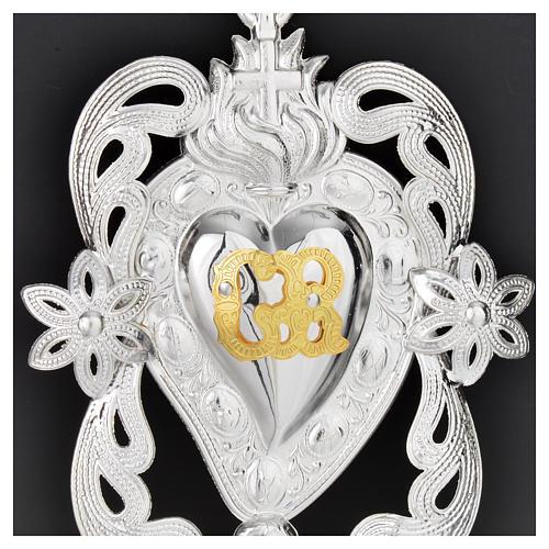 Coração ex-voto anjo e flores 11x8 cm 2
