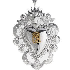 Votive sacred heart with filigree 14x20cm s1
