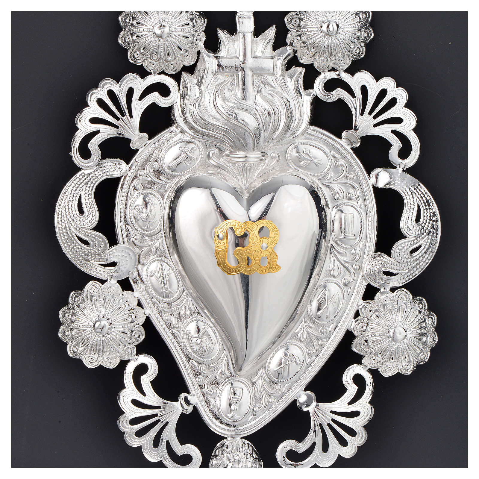 Ex-voto, Votive heart with flame and cross 13x20cm 3