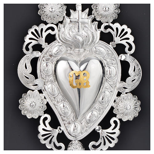 Ex-voto, Votive heart with flame and cross 13x20cm 2