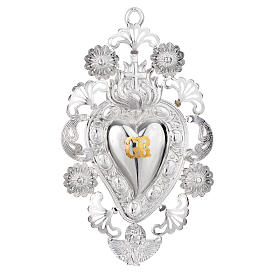 Exvoto Corazón llama cruz 13 x 20 cm. s1