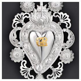 Exvoto Corazón llama cruz 13 x 20 cm. s2