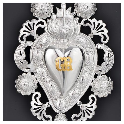 Ex-voto coeur flamme croix 13x20 cm 2