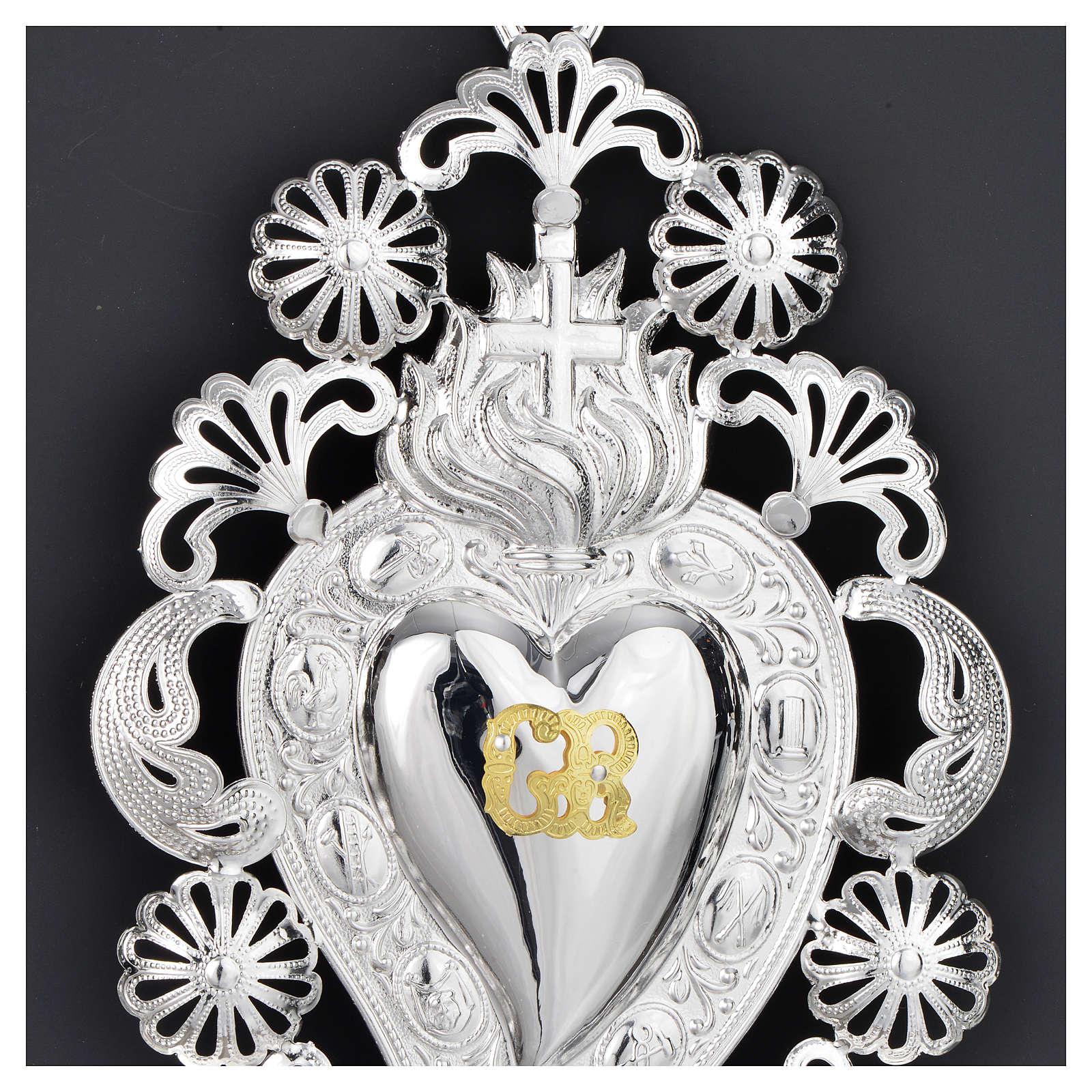 Exvoto Corazón llama cruz 13 x 20 cm. 3