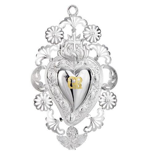 Exvoto Corazón llama cruz 13 x 20 cm. 1