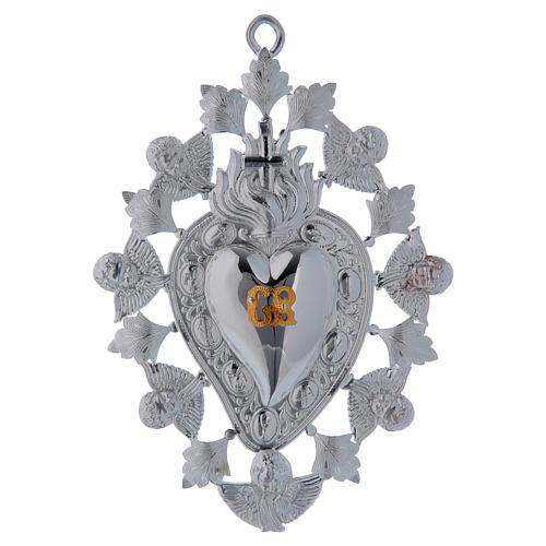 Exvoto Corazón llama ángel y decoraciones 13 x 20 1