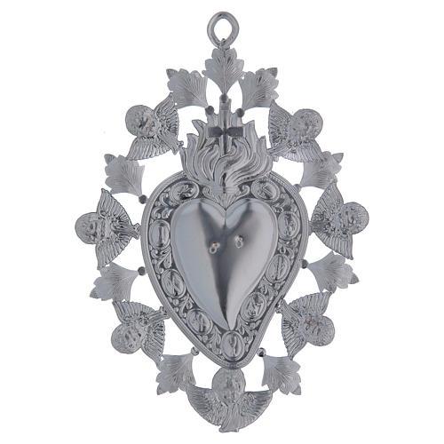 Exvoto Corazón llama ángel y decoraciones 13 x 20 3