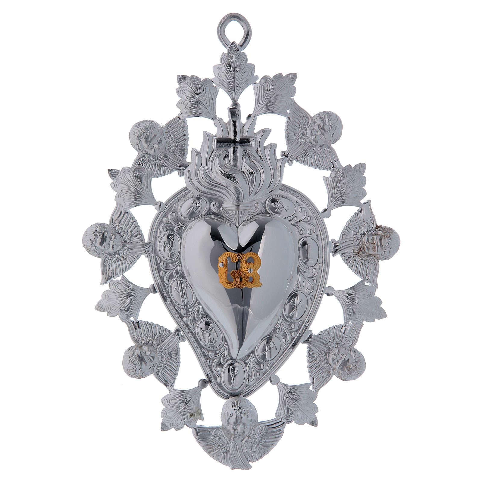 Ex voto Cuore fiamma angelo e decorazioni 13x20 cm 3