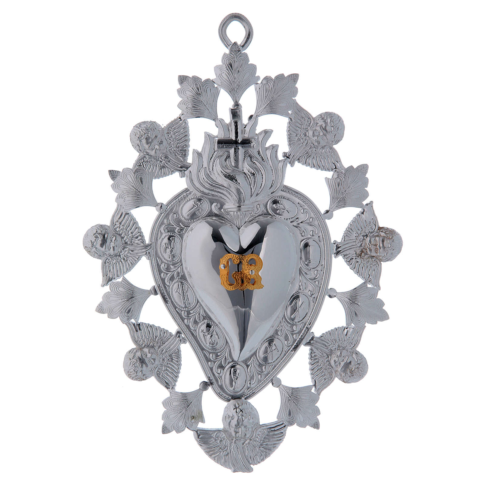 Ex-voto, heart with flame angels and decorations 13x20cm 3