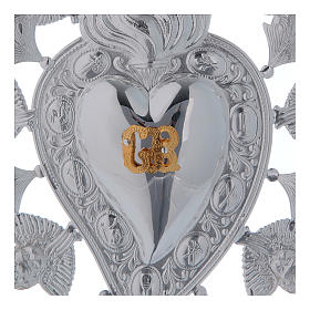 Ex-voto, heart with flame angels and decorations 13x20cm s2