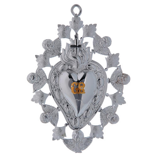 Ex-voto, heart with flame angels and decorations 13x20cm 1