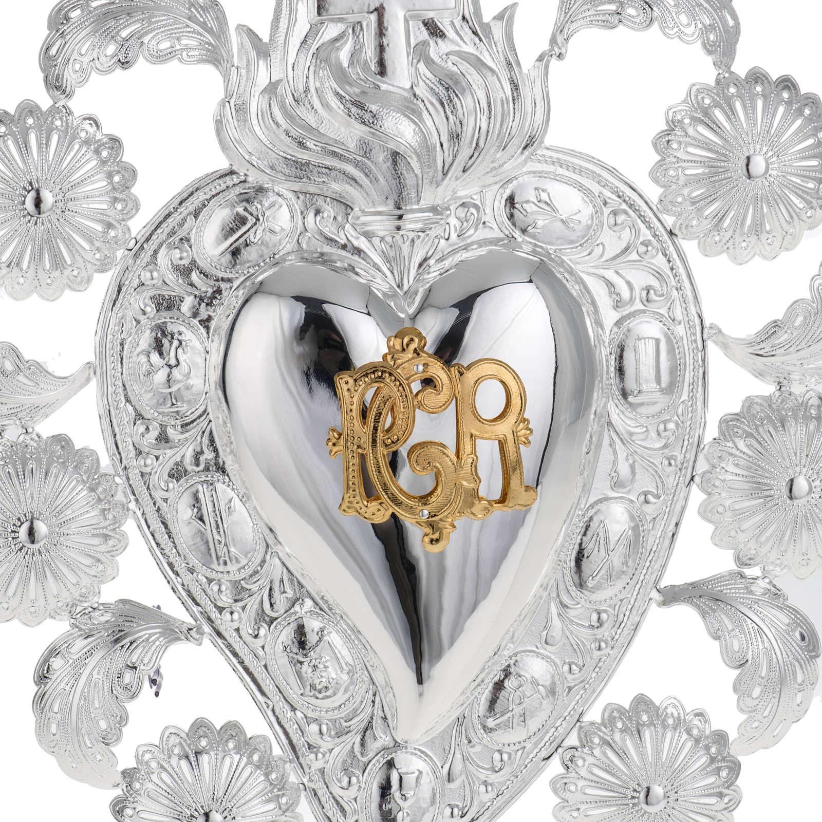 Ex-voto en coeur flamme ange 22.5x34 cm 3