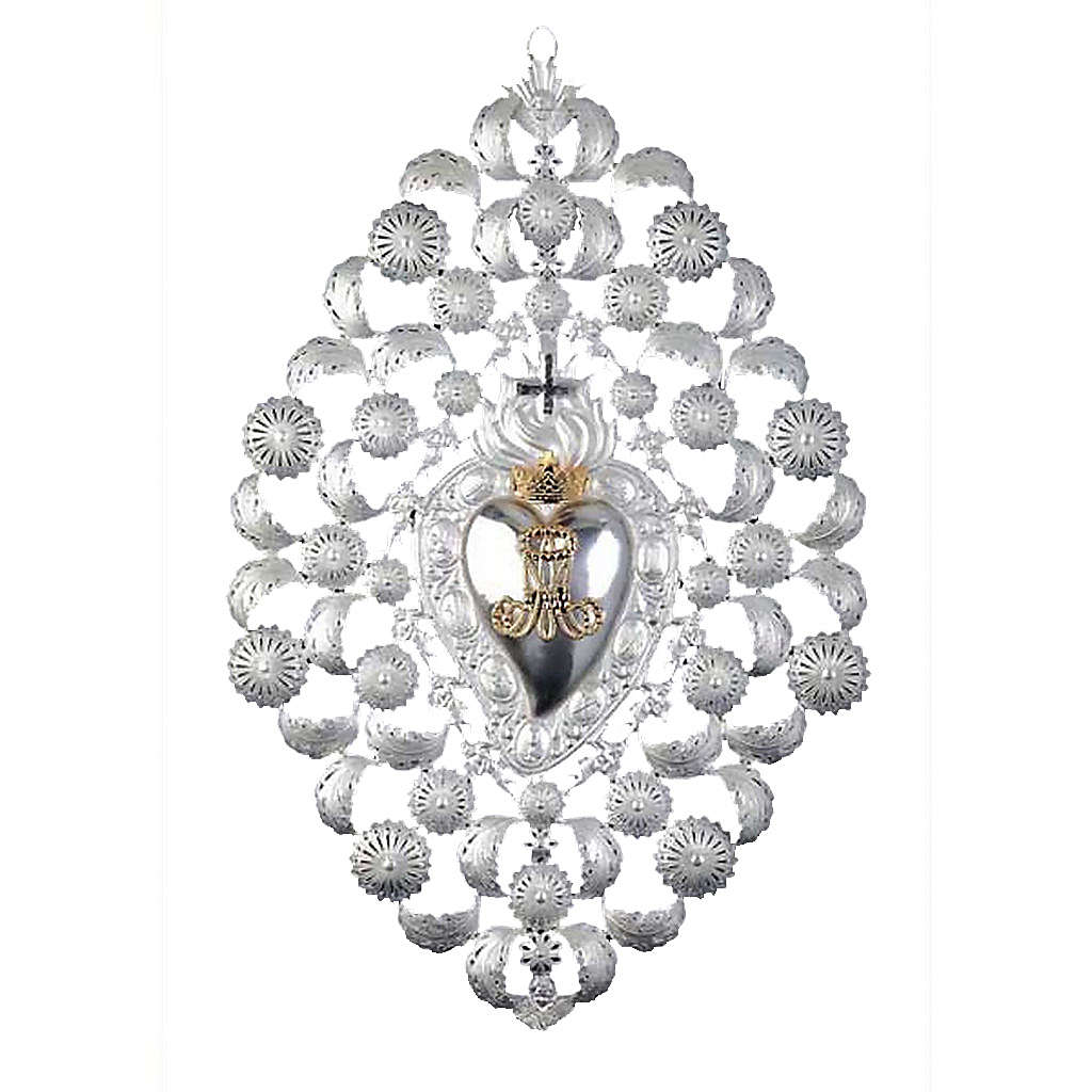 Ex-voto, Votive heart with crown and filigree 35x52cm 3