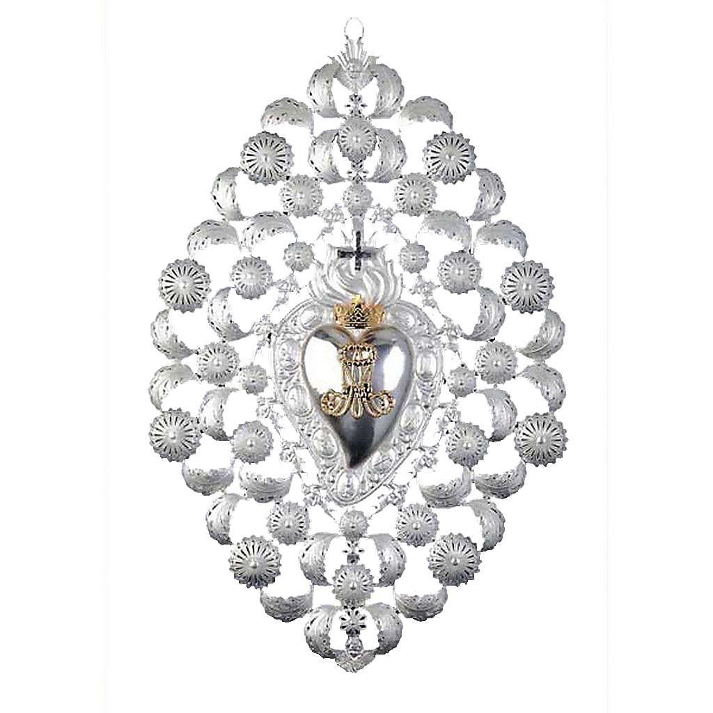 Ex voto Corazón votivo corona filigrana 35 x 52 cm. 3