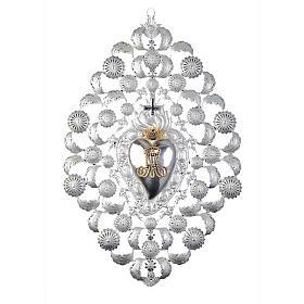 Ex voto Corazón votivo corona filigrana 35 x 52 cm. s1