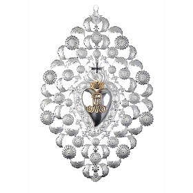Ex-voto, Votive heart with crown and filigree 35x52cm s1