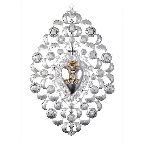 Ex-voto, Votive heart with crown and filigree 35x52cm 1