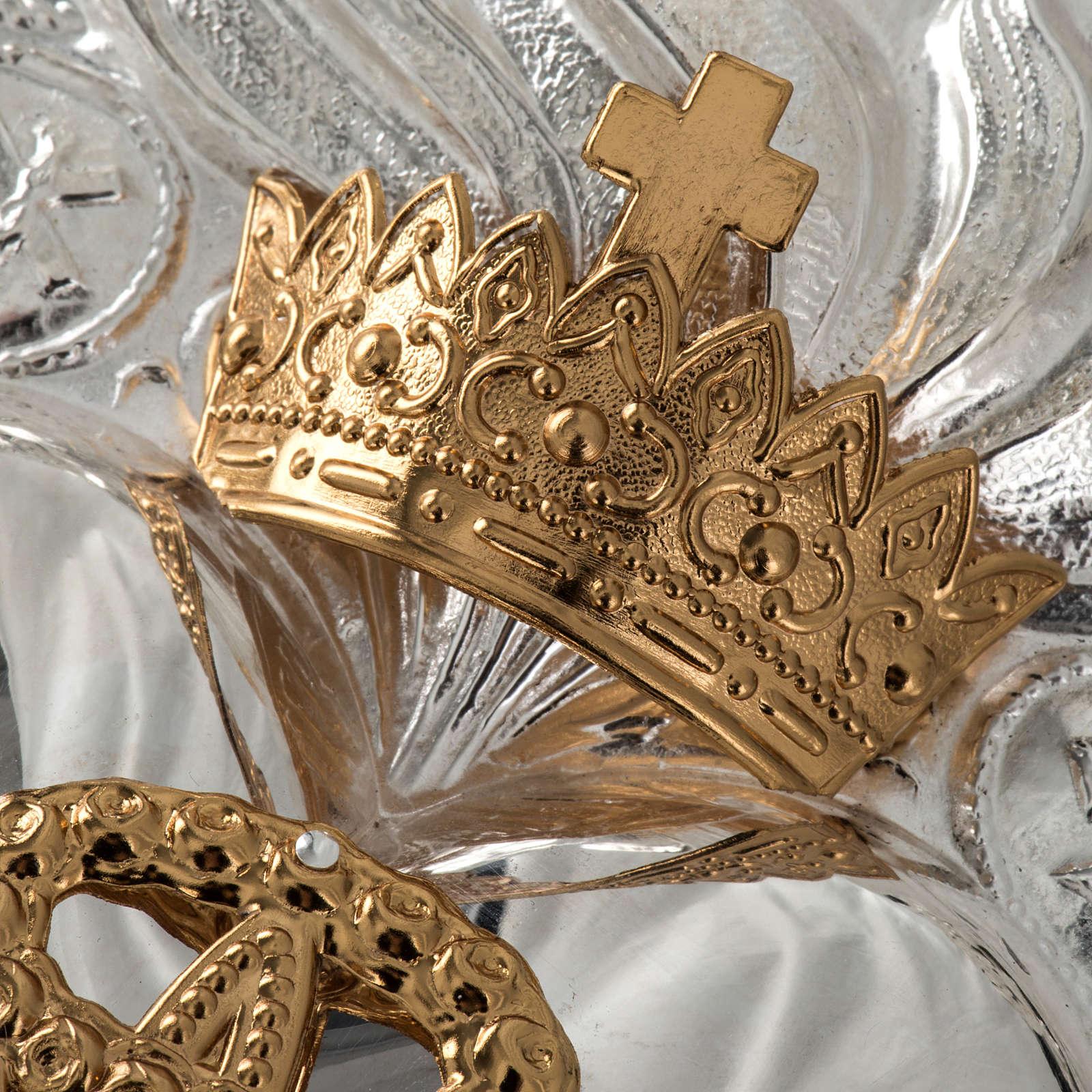 Ex voto Cuore votivo corona 3 giri filigrana 34x50 cm 3