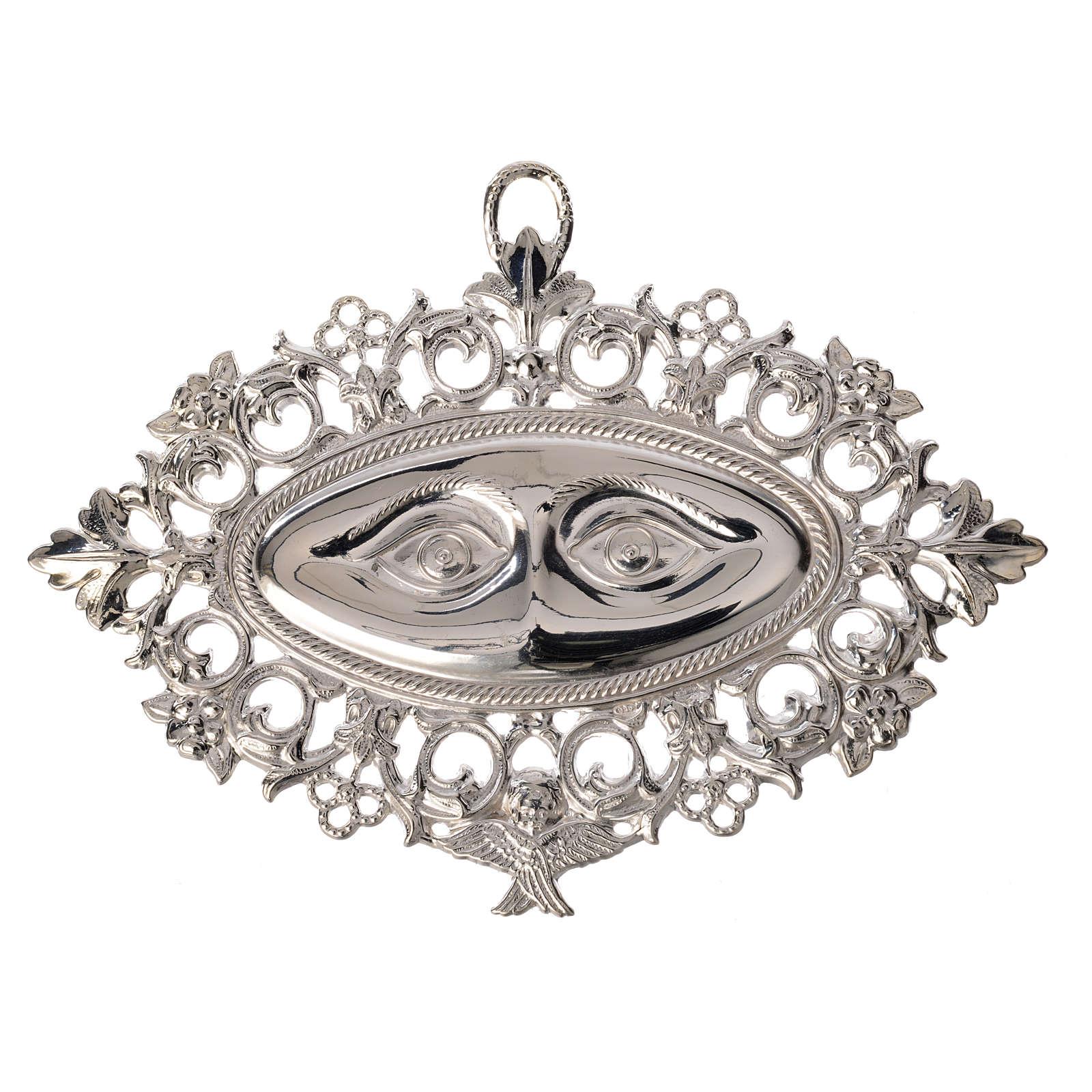 Ex-voto yeux perforés  argent 925 ou métal 13x8 cm 3