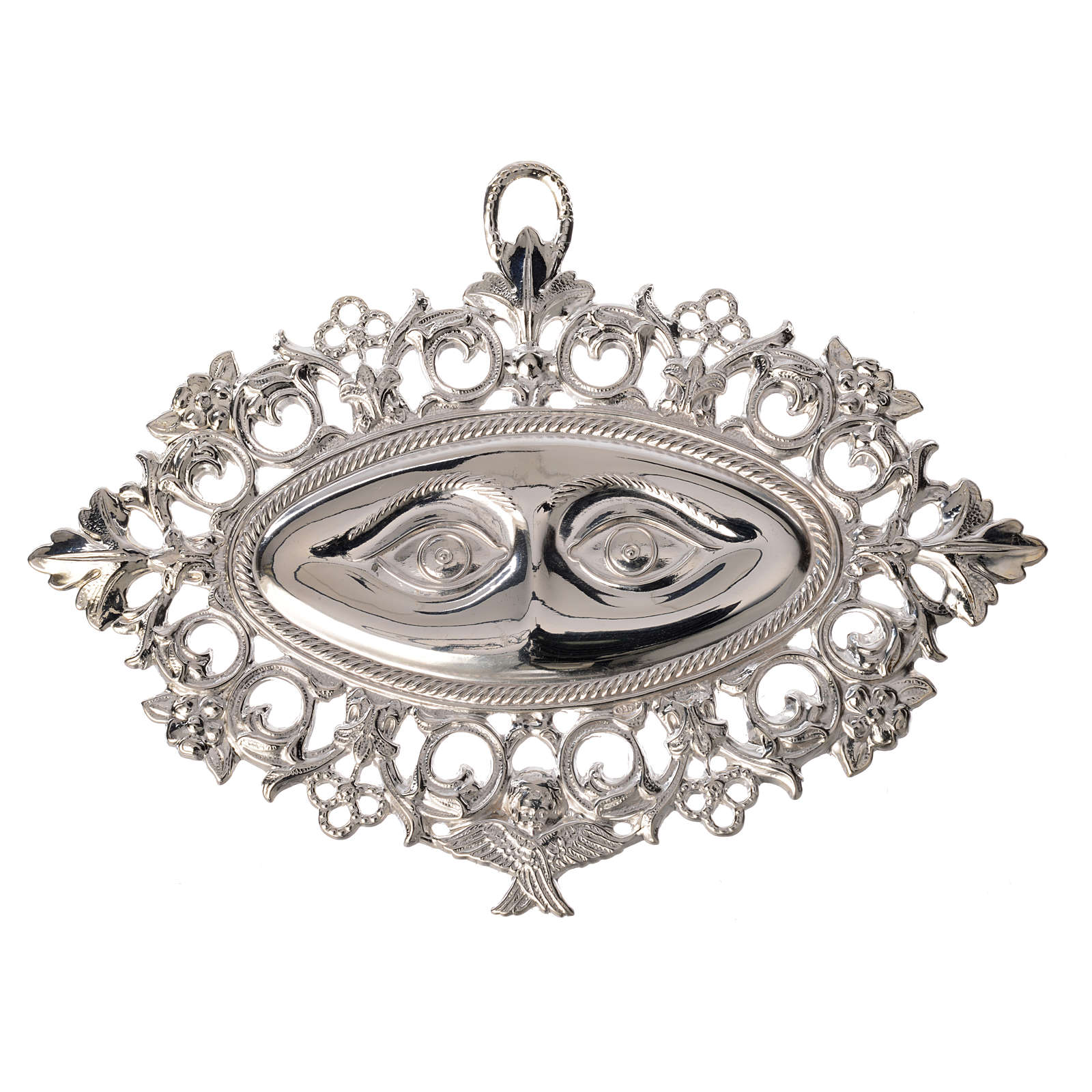 Ex-voto, perforated eyes in sterling silver or metal 13x8cm 3