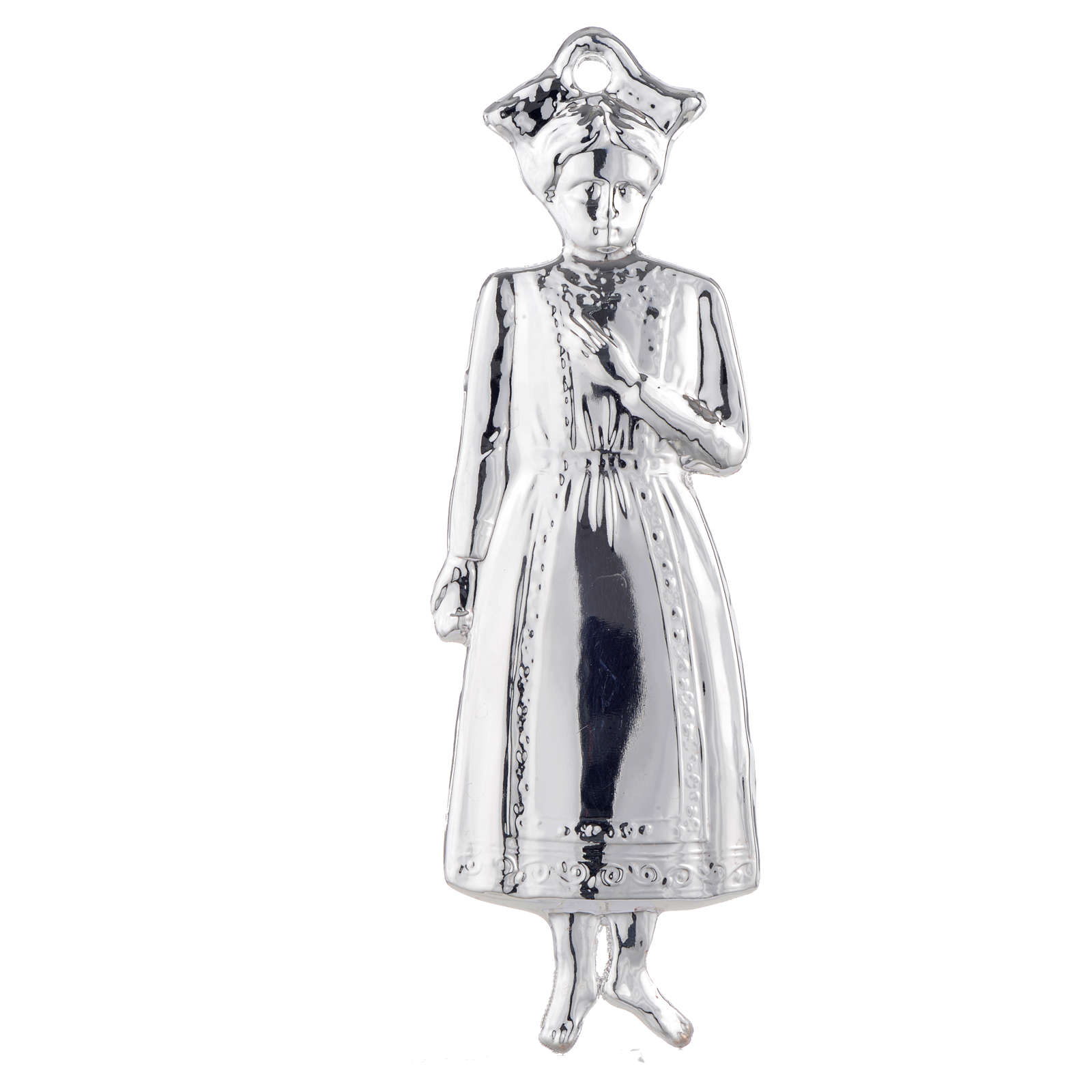 Ex-voto, young girl in sterling silver or metal, 15cm 3