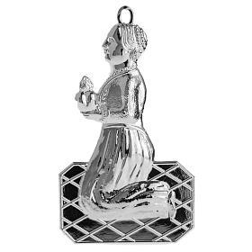 Ex-voto, kneeling woman in sterling silver or metal, 12cm s1