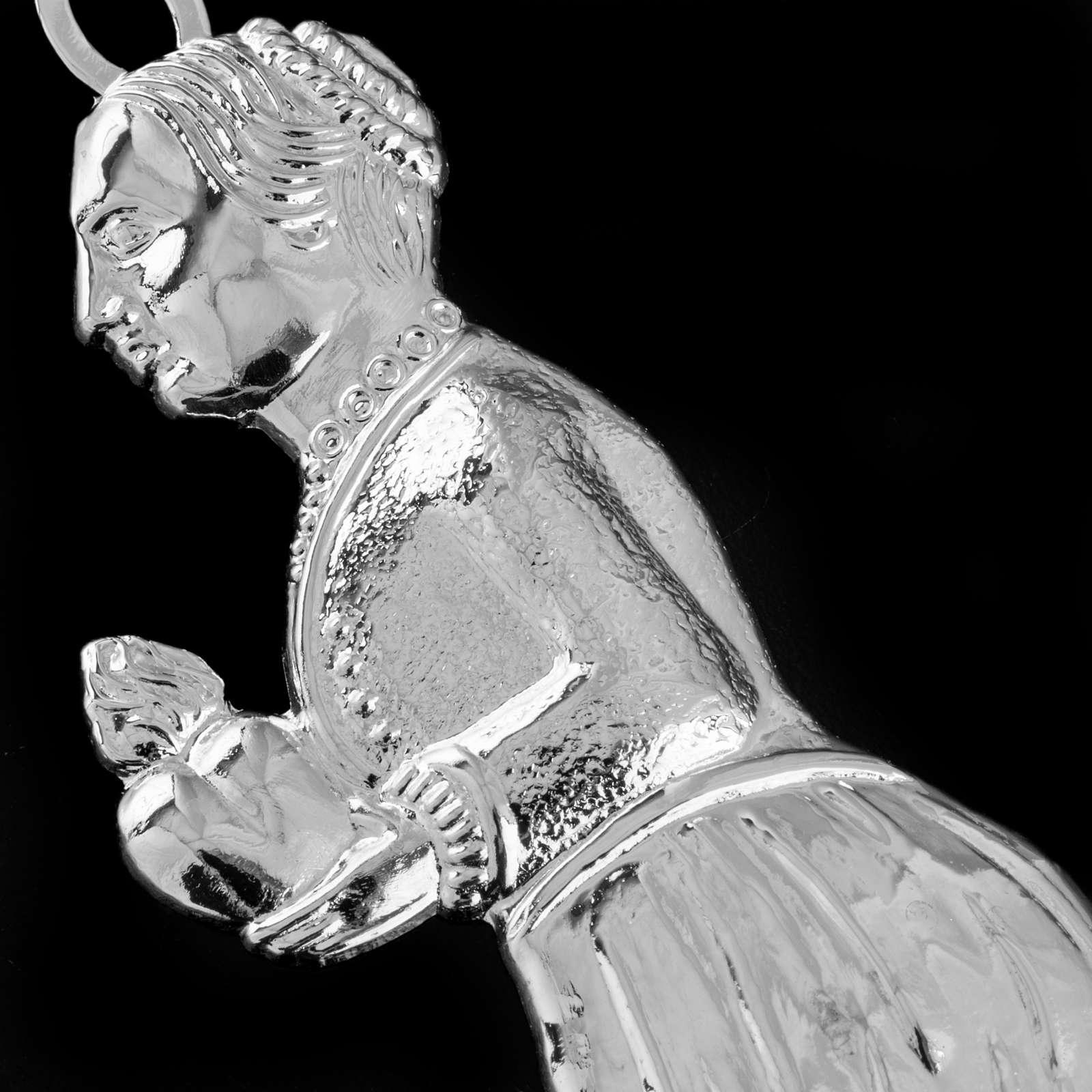 Ex-voto, kneeling woman in sterling silver or metal, 12cm 3