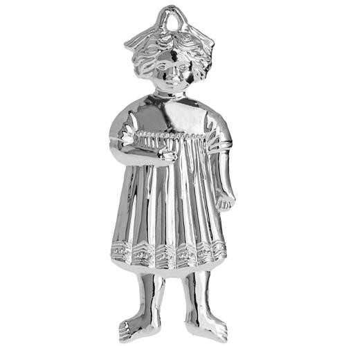Ex-voto, little girl in sterling silver or metal, 13cm 2