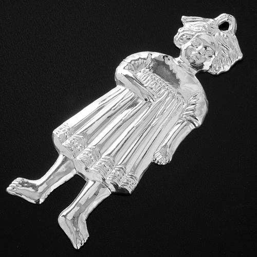 Ex-voto, little girl in sterling silver or metal, 13cm 4