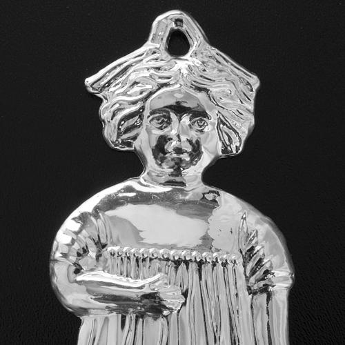 Ex-voto, little girl in sterling silver or metal, 13cm 6