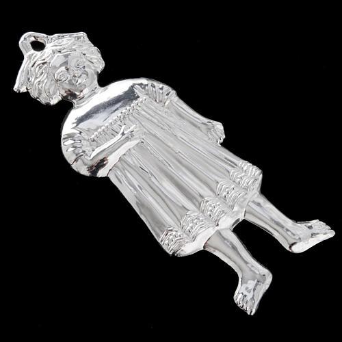 Ex-voto niña antigua plata 925 o metal 13 cm. 7