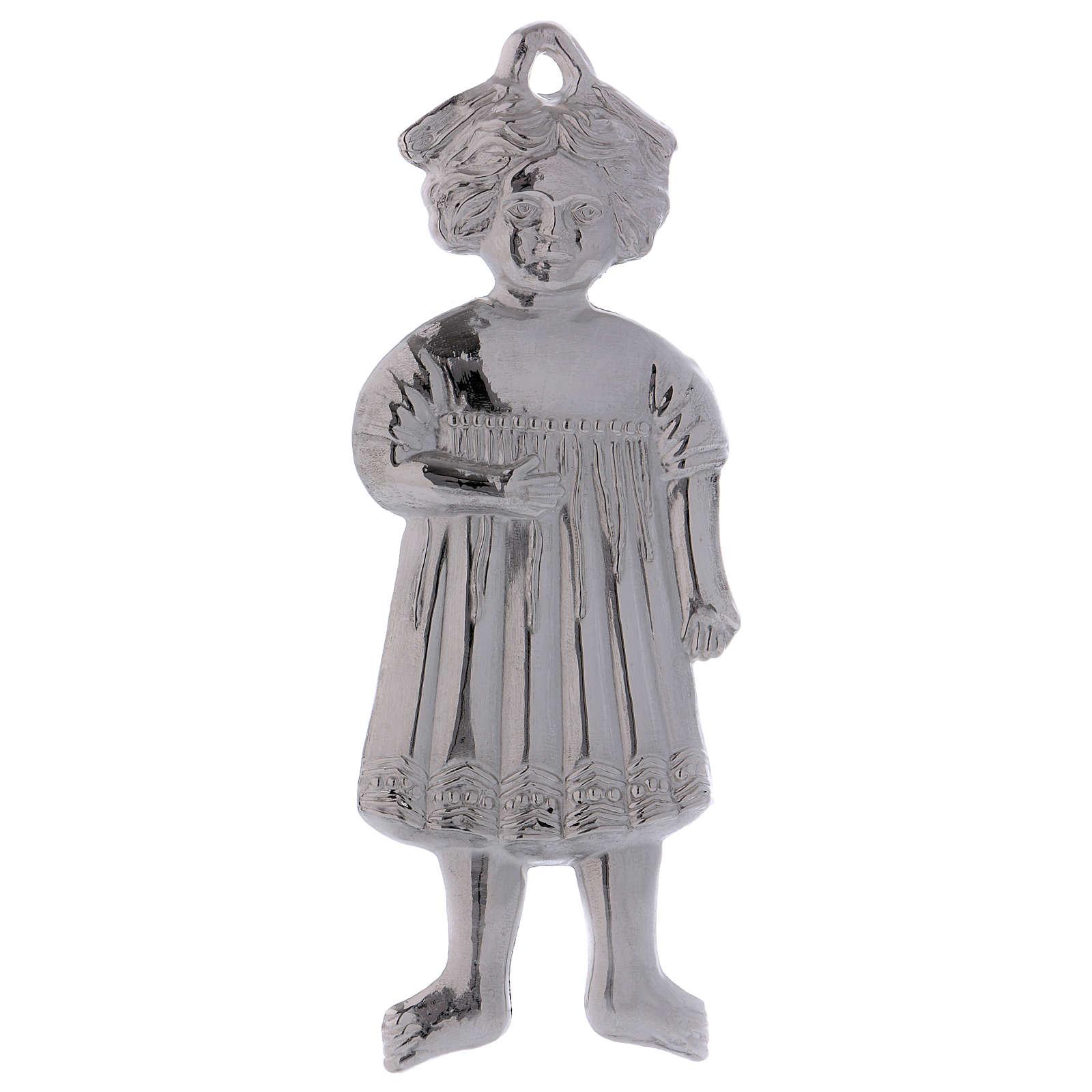 Ex-voto menina de pé prata 925 ou metal 13 cm 3