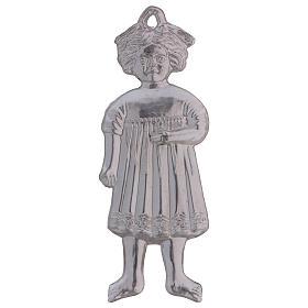 Ex-voto menina de pé prata 925 ou metal 13 cm s2
