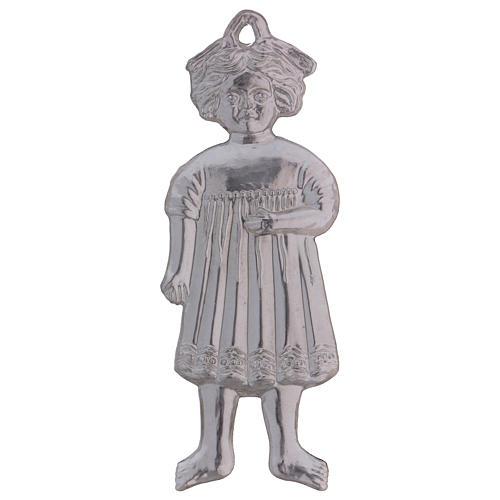 Ex-voto menina de pé prata 925 ou metal 13 cm 2