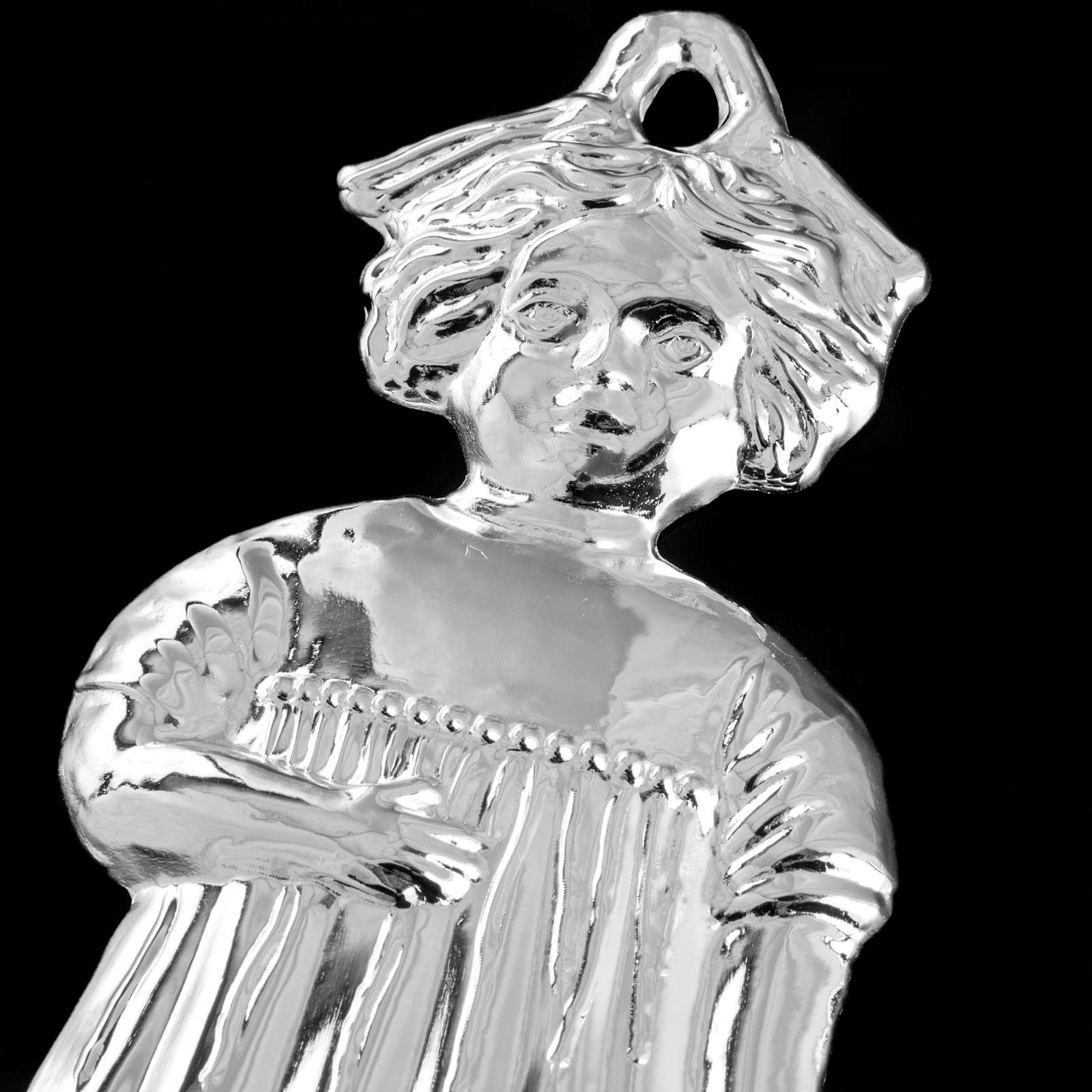 Ex-voto, little girl in sterling silver or metal, 13cm 3