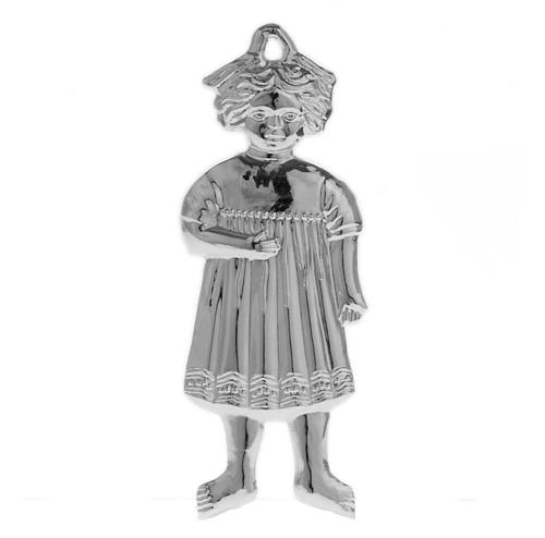 Ex-voto, little girl in sterling silver or metal, 13cm 1