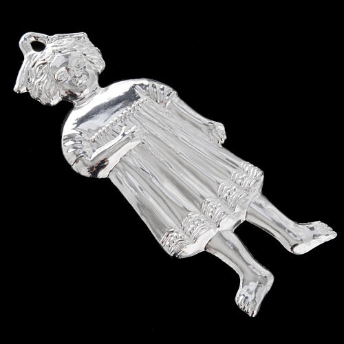 Ex-voto, little girl in sterling silver or metal, 13cm 7