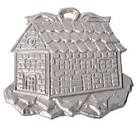 Ex voto en forme de maisonen argent 925 ou métal 8.5x10 c s1