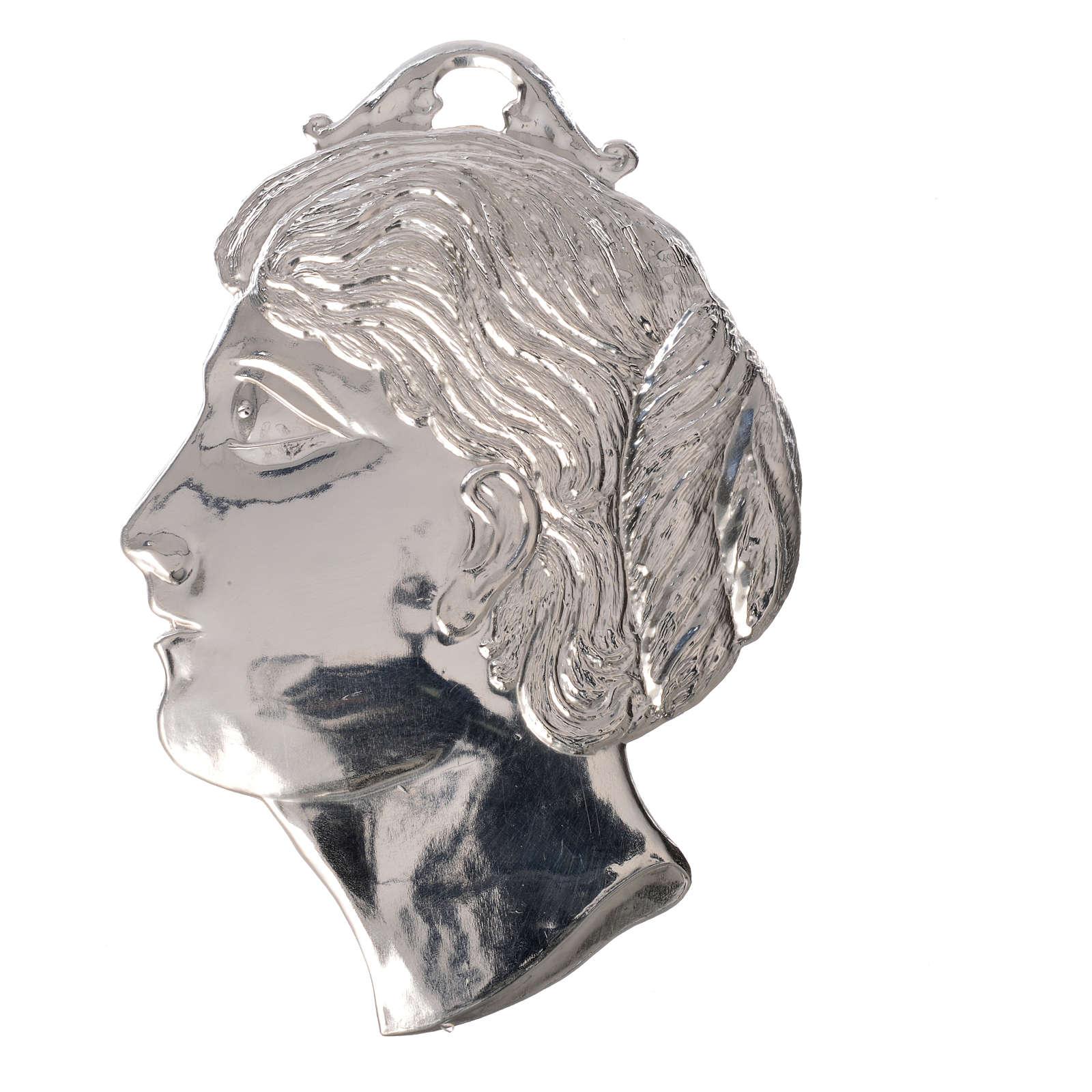 Ex voto testa di donna argento 925 o metallo 14 cm 3