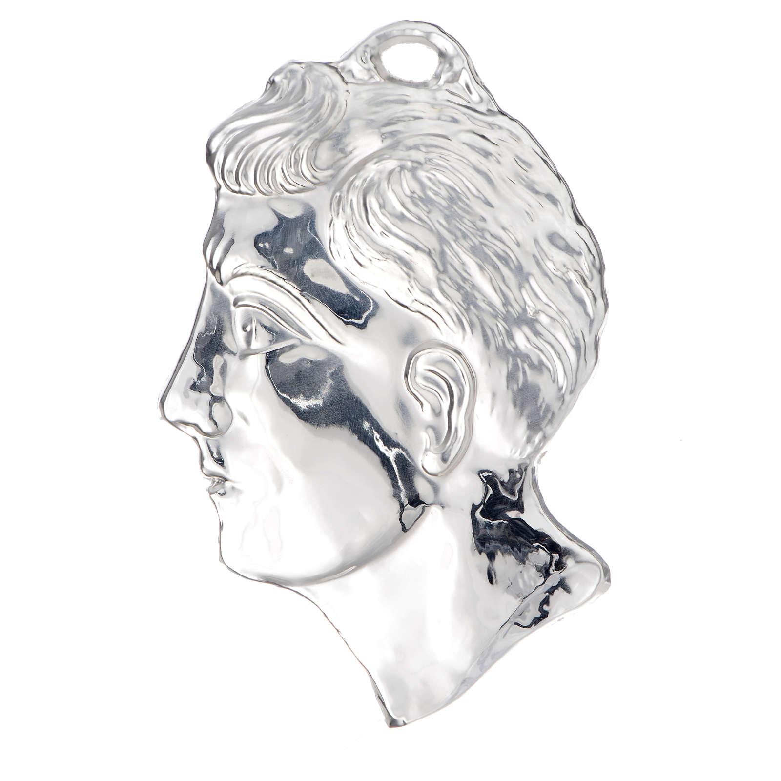 Ex voto testa di uomo argento 925 o metallo 13 cm 3